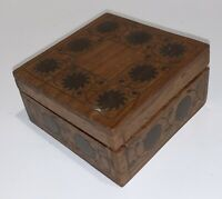 Antique Wooden Box With Decorative Inlay Accent ~ Hinged Lid