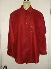 *NWT* VAN HEUSEN ~ RED FITTED PIQUE L/S SHIRT ~ 16 32/33