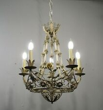 Antique Vintage Tole Shabby Chic 5 Light Basket Chandelier Flowers Original