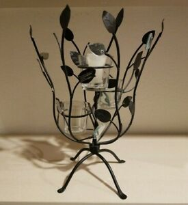 Metal, Glass and Mirror Candle Holder, Leaf Plant Like Design, Holds 3 Candles
