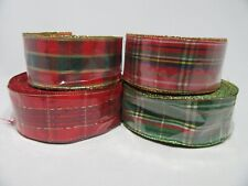 2 metres or 20 metre Roll 40mm Wired Tartan Ribbon Stewart Red Green Gold