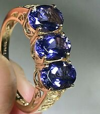 10K Gold 3 Stone Oval Iolite Band Ring - Size 6