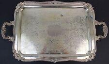 Antique Sheffield Silver on Copper Large Handled Footed Serving Platter