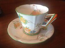 Royal Albert Art Deco Cup & Saucer Handpainted Flowers green rims REG. NO 784772