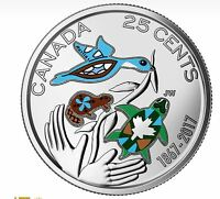 2017 Canada 150 Years 25 Cents Coloured Mint Coin Hope For A Green Future.