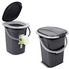 Portable Toilet WC Bucket 19L Seat Detachable Lid 130kg Trip Camping Festival UK
