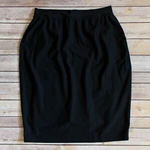 "Spanx Lined Slip Pencil 25"" Pull On Skirt XL Black Stretch Shapewear Comfort"