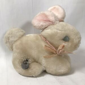 """Vintage Eden Wind Up Musical Plush Bunny Rabbit Small 7"""" White Collectible WORKS"""