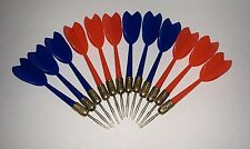 SET OF TWELVE 12  STEEL TIPPED DARTS WITH PLASTIC FLIGHTS red & blue