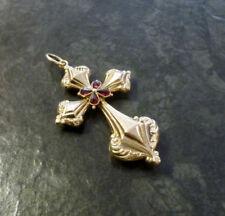 Goldanhänger mit Granaten Kreuz 585er Gold Goldkreuz 6,1 cm 14 Karat GG