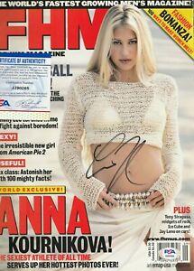 ANNA KOURNIKOVA Autographed Signed FHM Magazine - PSA/DNA COA - SEXY Tennis Star