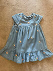 Baby Girl Denim Blue Summer Dress with pink flowers 18 To 24 Months /  2 Years