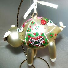 De Carlini Italy Blown Glass Pig w/ Hearts Christmas Ornament Mint!
