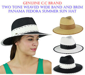 NEW! C.C Two Tone Weaved Wide Band and Brim Panama Fedora Summer CC Sun Hat