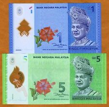 Set, Malaysia, 1 and 5 Ringgit, ND (2012), P-New, UNC > Polymer