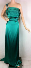 New Womens Shimmer by Bari Jay Emerald Green Gems One Shoulder Gown Dress 12 14