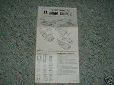 Tomy 1/38 Honda Coupe Z Instructions 1975 kit