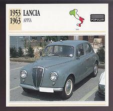 1953-1963 Lancia Appia Italy Car Photo Spec Sheet Info ATLAS CARD