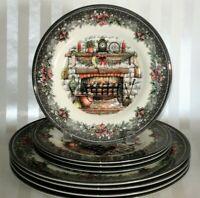 8 Royal Stafford Christmas Cozy Fireplace Stockings 4 DINNER +4 SALAD Plates NEW