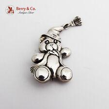Teddy Bear Christmas Brooch Pin Sterling Silver 1980