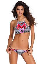 Costume Da Bagno Stampa Tribale lacci Tankini string sling Swimwear Swimsuit S