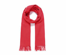 Cheerful BRIGHT RED soft pashmina SCARF with fringing NWT ideal Xmas gift