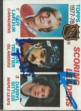Bryan Trottier Guy Lafleur Darryl Sittler 1978 Topps Triple Autograph #65