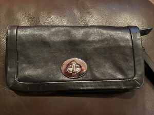 Coach New w/Tags Black Leather Wristlet/Clutch Very Gently Used Hand Bag