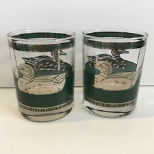 2 Vintage Mid Century Georges Briard Duck Glasses Gold Green
