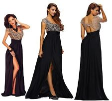 Gold Lace Sequins Slit Maxi Dress/Evening Dress  Size 8