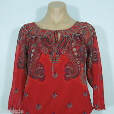 INC INTERNATIONAL CONCEPTS  Red Paisley Print Nylon Blouse, 3/4 Sleeves,size S