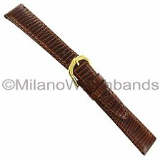 18mm Name Brand Brown Lizard Grain Stitched Genuine Leather Watch Band Regular