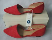 A New Day Microsuede Red Pointed Toe Ballet Flats Shoe Womens Size 9