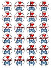 """I Love Gaming & console di gioco Cupcake Topper su Wafer Carta Di Riso 1.5"""" 24 per Set"""