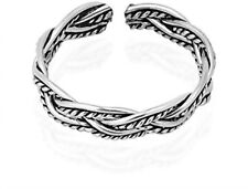 Oxidized Celtic Weave Design Sterling Silver Toe Ring Or Pinky Ring For Women