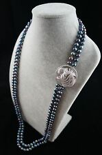 """36/37"""" 8-9mm Double-Strand Peacock Pearl Necklace with Leopard Head Ornament"""