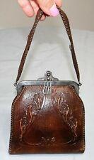 Vtg Victorian Hand Tooled Leather Bosco Built Handbag Purse Locking