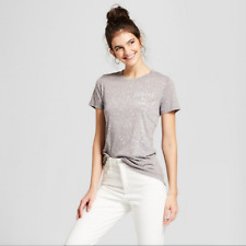 NEW Zoe+Liv Women's Coffee & Chill Short-Sleeve Graphic Tee- Heather Gray - XS