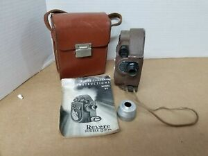 Vintage 1940's Revere Model 88 Movie Camera 8mm Wind-Up With Leather Case B4