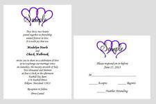 100 Personalized Custom Hearts Bridal Wedding Invitations Set Any Color