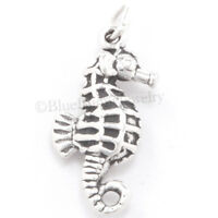 SEAHORSE Charm Ocean Sea Horse Animal Fish Pendant STERLING SILVER 925 .925 3D