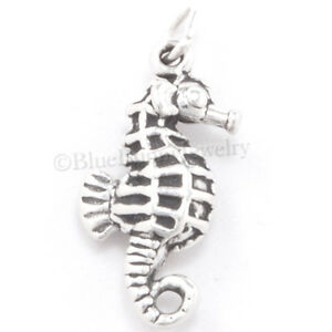 SEAHORSE Charm Sea Horse charm Pendant STERLING SILVER 925 .925 3D nautical