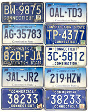 *99 Cent Sale* Connecticut License Plate Lot Of 10 Craft Grade Mixed Base Nr