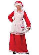 Mrs. Santa Costume 3 Pc Red Flannel Dress & Mob Cap W/ Wht Pinafore Apron S/M