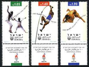 Israel 1277-1279 tabs, MNH. Olympics, Atlanta. Fencing,Pole vault,Wrestling,1996