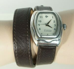 SILPADA Designs Ladys Silver Brown Leather Wrap Strap Band Buckle T1896  Watch