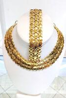 Hugs & Kisses Necklace 14K Gold Fn Stampato Stainless Steel 3 SETS Bracelet Set