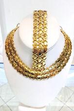 14K Gold Fn Hugs & Kisses Necklace Bracelet Set Stampato Stainless Steel 3 SETS