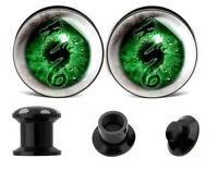PAIR GREEN DRAGON EYES Ear Gauges Ear Plugs Flesh Tunnels SCREW Acrylic