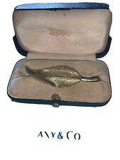 Tiffany & CO Sterling Silver Leaf Brooch Pin GOLD WASH VTG & Box
